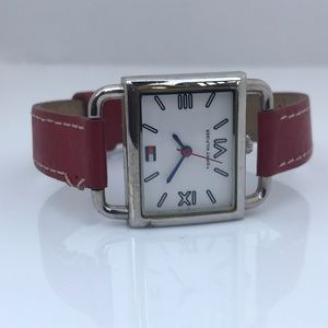 Tommy Hilfiger Women Watch Red Leather Band Silver